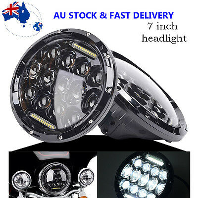 "1x 7"" 75W HID LED Black Projector Daymaker Headlight For Motorcycle Harley AU"
