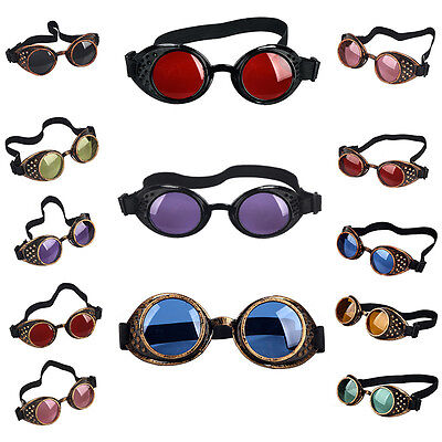 Colorful Lens Outdoor Steampunk Goggle Welding Eyewear Cosplay Eye Protector #AN