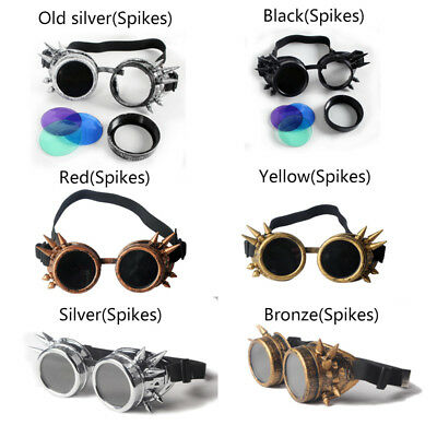 SPIKES Steampunk Goggles Cosplay Vintage Cyber Colorful Green Pink Lens Party #A