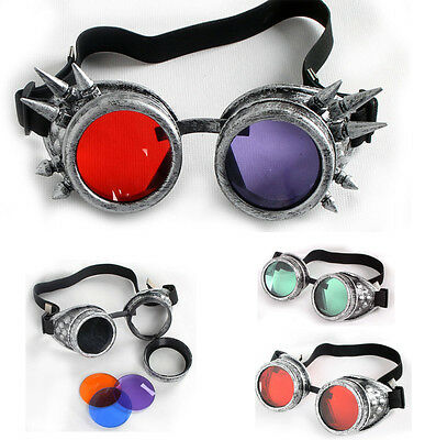 Multicolor Victorian Steampunk Eyewear Goggles Welding Cosplay Vintage Glasses A