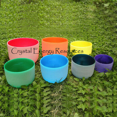 """Perfect Pitch Chakra Tuned Set of 7 Colored Frosted Crystal Singing Bowls 8""""-10"""""""