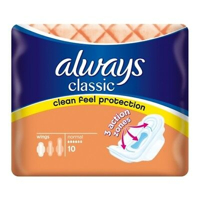 ** 4 X Always Classic 10 Normal Towels 40 Pads With Wings New *