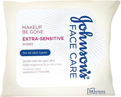 Johnson's Face Care Makeup Be Gone Extra Sensitive Wipes (25)FREE UK DELIVERY