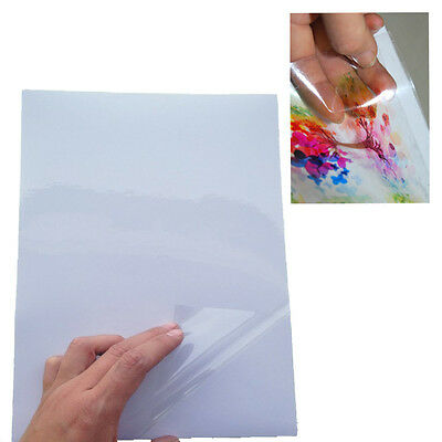 10x A4 Transparent Clear Glossy Inkjet Print Self Adhesive Sticker Paper Label