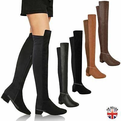 New Womens Ladies Over The Knee Riding Flat Boots Calf Stretch Thigh High Size