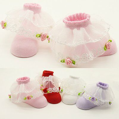 Newborn Infant Toddler Baby Girl Princess Socks Non-Slip Lace Cotton Socks Shoes
