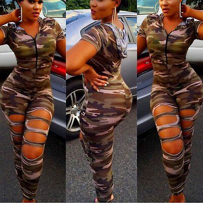 New Women Ladies Clubwear Hooded Playsuit Bodycon Party Jumpsuit&Romper Trousers