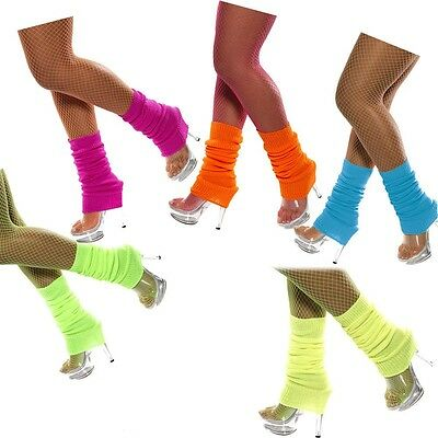 Leg Warmers Knitted Women Costume Neon Legging Fluro Ankle Dance Party Knit 80s