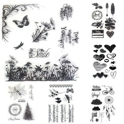 Peacock Heart Transparent Clear Rubber Stamp Diary Scrapbooking Decor DIY Crafts