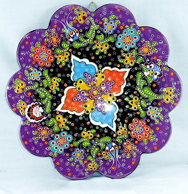 Turkish Hand Painted Cermaic Hanging Purple Trivet