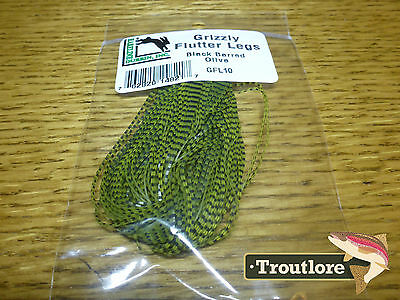Olive Grizzly Flutter Legs Barred Hareline Dubbin New Fly Tying Material