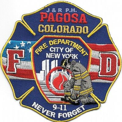 """Pagosa  9-11 Tribute """"Never Forget"""", CO  (4.5"""" x 4.5"""" size)    fire patch"""