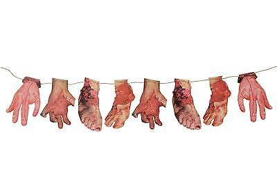 Bloody Hand/Foot Banner, Halloween Party Accessory Prop/Room Decoration #CA