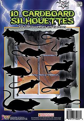 Silhouette Shadow Rats 10pc , Halloween Party Accessory Prop/Room Decoration #CA