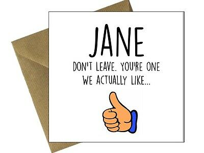 SORRY YOUR LEAVING CARDS GOOD LUCK Comedy Funny Humour Rude Offensive Joke / FL