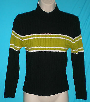 Americana by Techknit LS Black/Green/White Sweater Unisex Kids L C:32 W:29 L:20