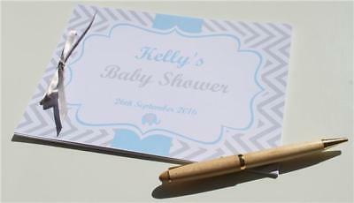 Personalised Baby Shower Guest Book Memory Games Blue Pink Neutral Keepsake