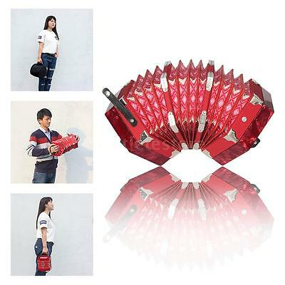 Concertina Accordion 20-Button 40-Reed Anglo Style with Carrying Bag Red B3G4