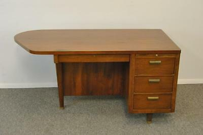 Mid-Century Modern Teak Desk with 4 Drawers and Slide Out Panel