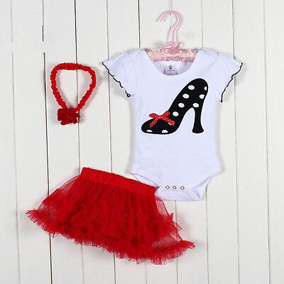 New Baby Girl Baby Girls Clothing Set 3PCS: headband+shirt+pant Princess Red