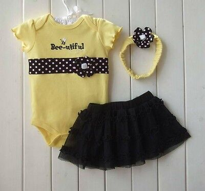 New Baby Girl Baby Girls Clothing Set 3PCS: headband+shirt+pant Princess Yellow