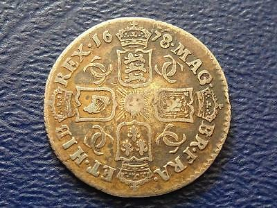 Great Britain - Charles 11 Silver Sixpence 1678 / 7 Overdate - Rare Date