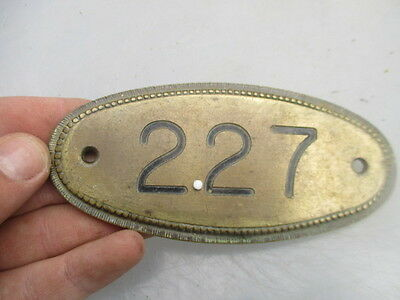 Vintage Brass House Number Plaque Room Sign Beading Architectural Antique 227