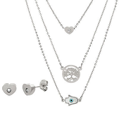 Silver-Tone Stainless Steel CZ Tree/Freshwater Pearl Earring and Necklace Set