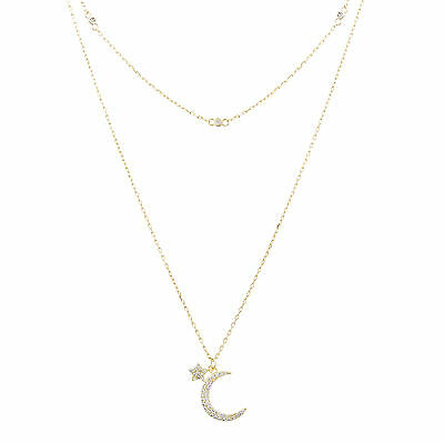 18K Gold Sterling Silver Cubic Zirconia Crescent Moon Chain Necklace