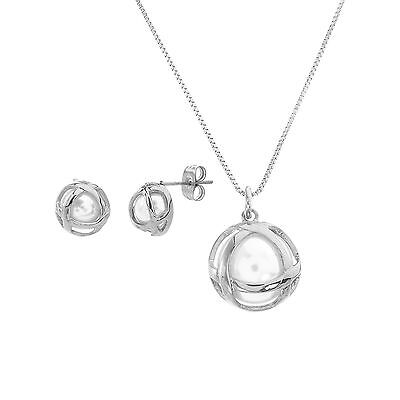 Silver-Tone Stainless Steel Freshwater Pearl Crossover Earrings and Necklace Set