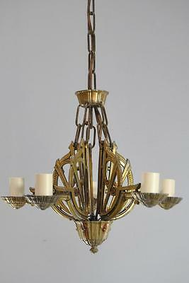 Art Deco Chandelier LIght Fixture with Five Lights and Original Finish