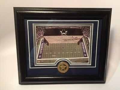 Dallas Cowboys Stadium Field Matted Framed Photo Plaque w Coin