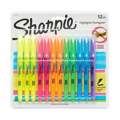 Sharpie Pocket Highlighters Chisel Tip Assorted Marker Pen Colors 12 Count New