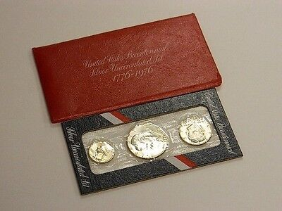 1776-1976 Bicentennial Silver Uncirculated 3 Coin Set United States Mint