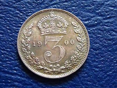 GREAT BRITAIN - QUEEN VICTORIA SILVER THREEPENCE 1900 3d TONED A / UNCIRCULATED