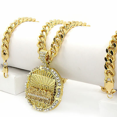"Men Iced Out Hip Hop 14k Gold Plated Last Supper CZ Pendant 30"" Cuban Link Chain"