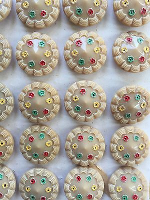 Vintage Buttons - 1930's 24 Caramel Color Hand Painted Glass Shank Buttons