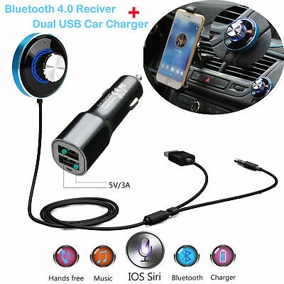 Wireless Bluetooth 4.0 A2DP Car AUX Stereo Audio Receiver Adapter USB Charger