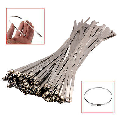 Good 100PCS 4.6x300mm Stainless Steel Exhaust Wrap Coated Locking Cable Zip Ties