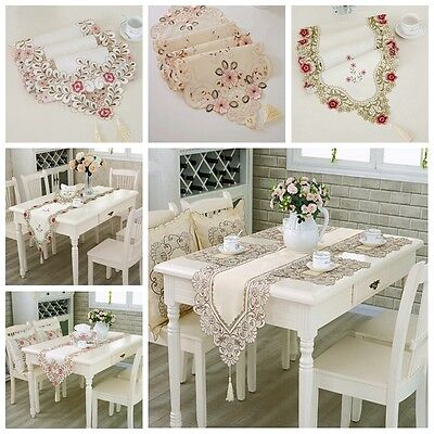 Embroidered Table Cloth Hollowed Design Fabric Floral Lace European Table Runner