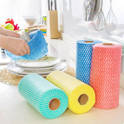 1Roll of 25 Disposable Wiping Cloth Kitchen Non-woven Cleaning Cloth Dish Towel