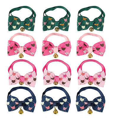 50/100pcs Wholesale Heart Print Puppy Dog Bow Tie Cat Necktie Grooming with Bell