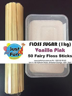 Floss Sugar (1kg) with 50 Fairy Floss Sticks (Vanilla Pink)