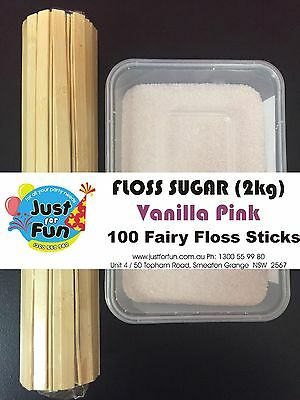 Floss Sugar (2kg) with 100 Fairy Floss Sticks (Vanilla Pink)