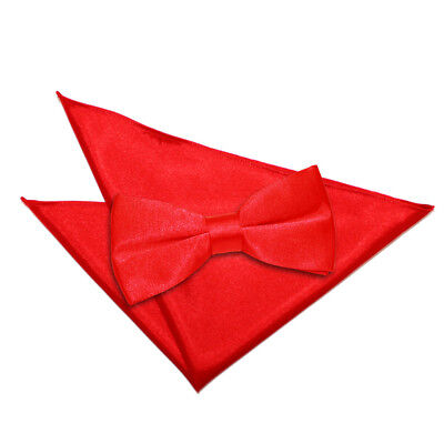 Dqt Mens High Quality Pre Tied Bow Tie & Hanky Wedding Set - Red