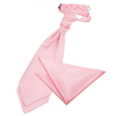 Baby Pink Satin Mens Scrunchie Wedding Cravat & Hanky