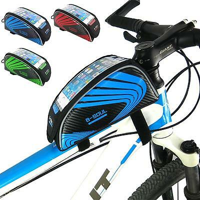 Universal Bicycle MTB Bike Cycling Frame Pannier Front Tube Bag Phone Holder New