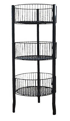 "Impulse Dump Bin Sale Basket 3-Tier 18.5"" Diameter Wire Floor Display Black NEW"