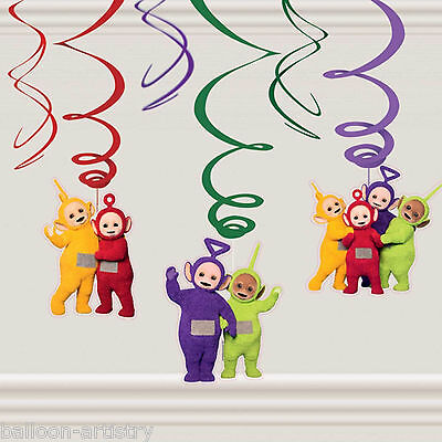 6 Adorable Teletubbies Children's Birthday Party Hanging Foil Swirl Decorations