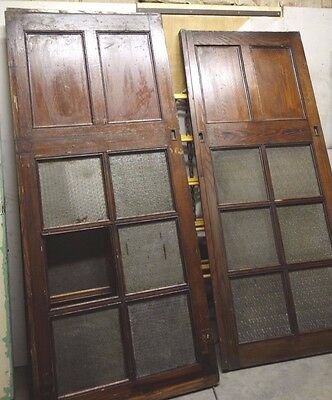 "antique architectural salvage pocket door lot 94 "" x 81.5 "" glass raised panel"